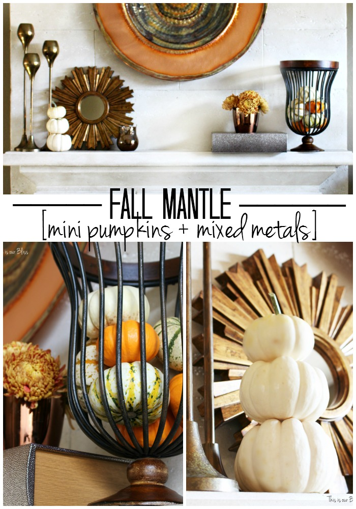 fall mantel mini pumpkins + mixed metals mantle styling - copper gold - mini pumpkins - rose gold vase - spider mums - fall vignette - fall vignette - This is our Bliss