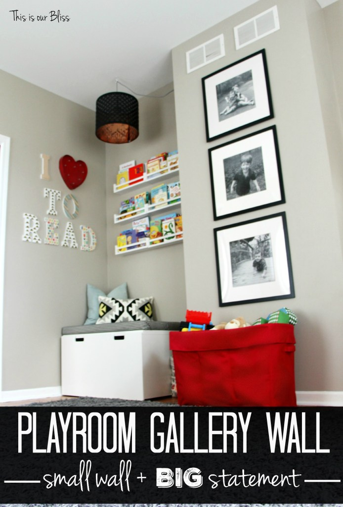 playroom gallery wall Playroom reading nook playroom gallery wall 3 black frames mini playroom picture wall This is our Bliss