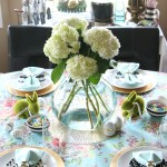 Spring tablescape   Easter table   fresh flowers & floral & striped table linens   This is our Bliss