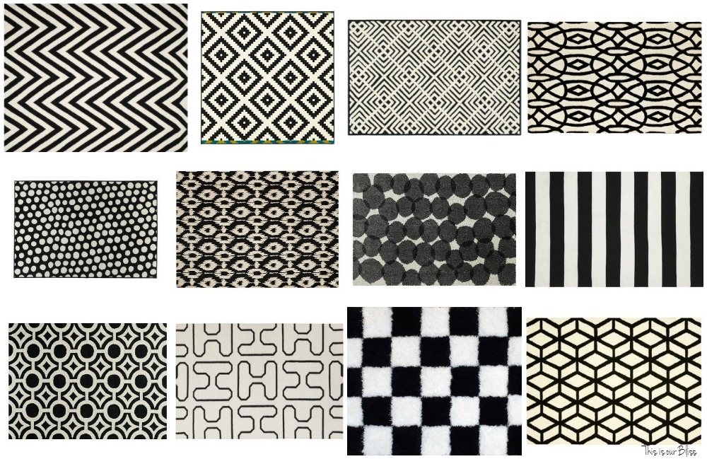 12+ Bold Black & White Rugs for every Room in your Home