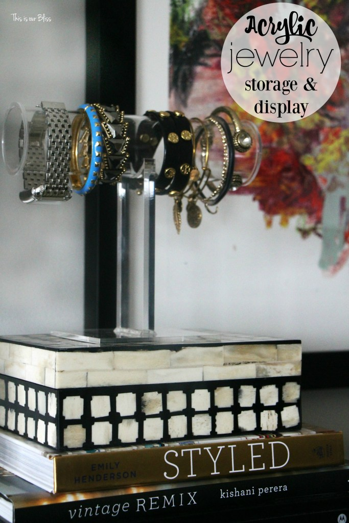 Acrylic jewelry storage & display | new year, new room refresh challenge - Master bedroom refresh - gold decor - TV gallery wall - minted art || This is our Bliss - www.thisisourbliss.com
