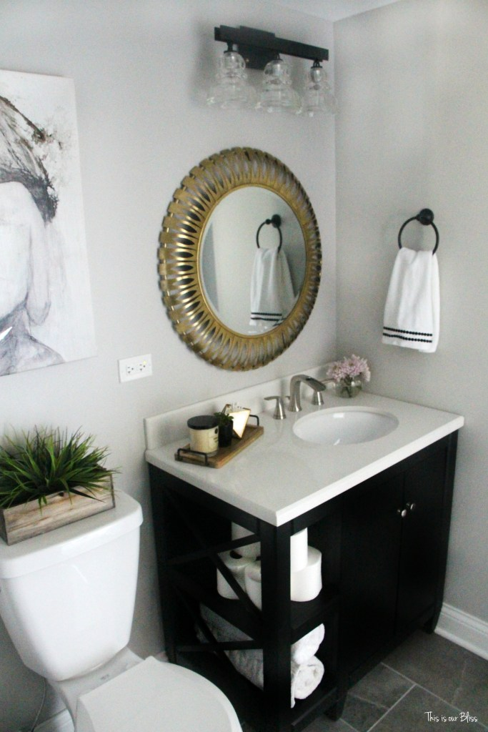 Basement bathroom reveal | gray tile marble neutral bathroom decor black white gold and gray bathroom || This is our Bliss
