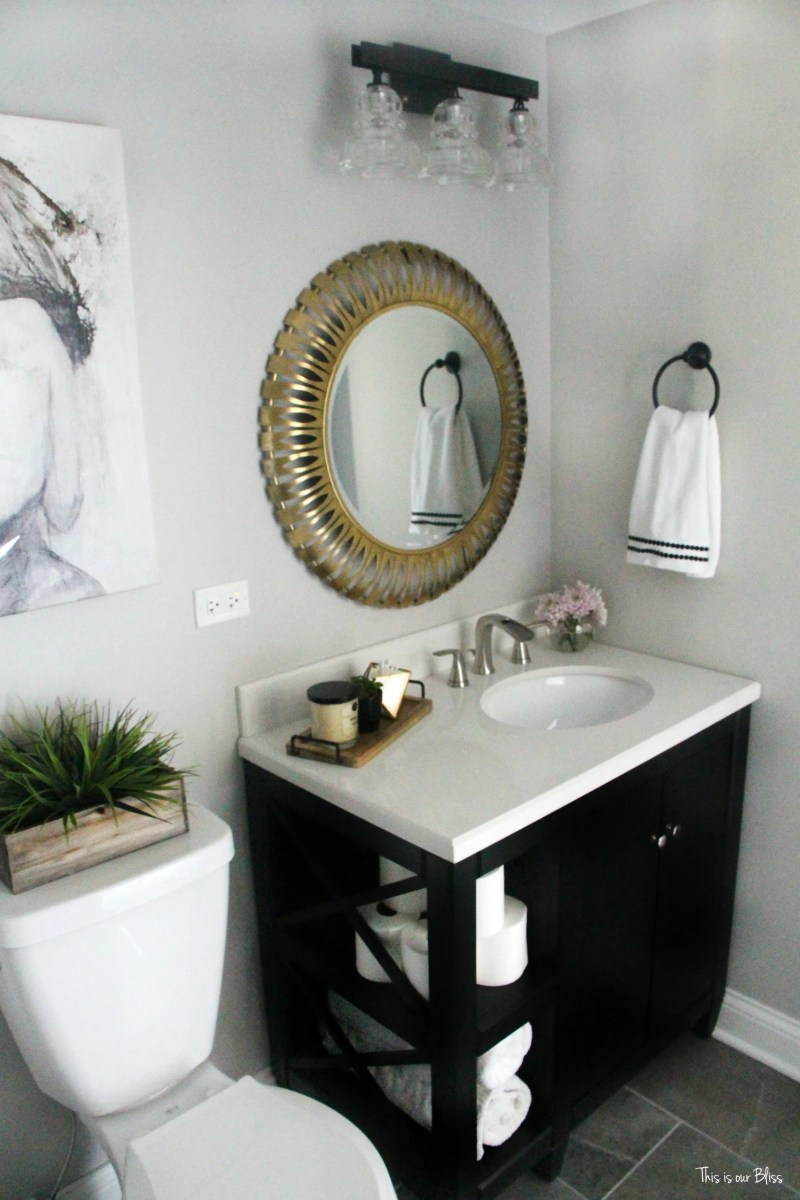 Neutral Glam Basement Bathroom Reveal