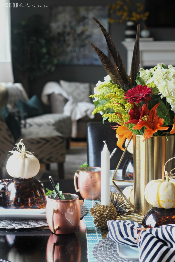 A Simple, Casual Fall Tablescape with texture, pattern and pops of warm copper and gold | This is our Bliss | www.thisisourbliss.com
