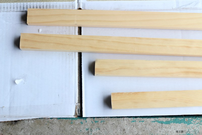 4 cut pieces for DIY wood frame for a canvas   New Year New Room Challenge   This is our Bliss