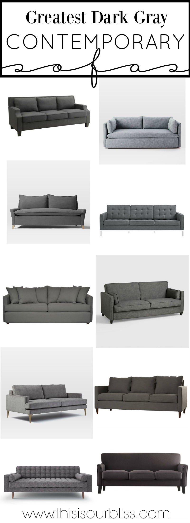 The Greatest Dark Gray Contemporary Sofa Round-up + How to Style a Sofa 2 Different Ways | This is our Bliss