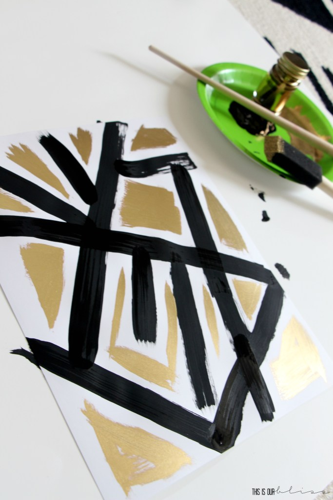 DIY Black, White and Gold Geometric Art | How to create Chic, Bold Art on Budget | This is our Bliss