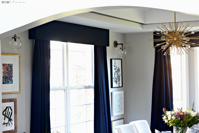 bold-graphic-glam-dining-room-reveal-one-room-challenge-navy-curtains-stacked-art This is our Bliss
