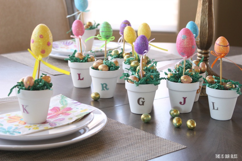 DIY Easter Egg Topiary Placecard | This is our Bliss