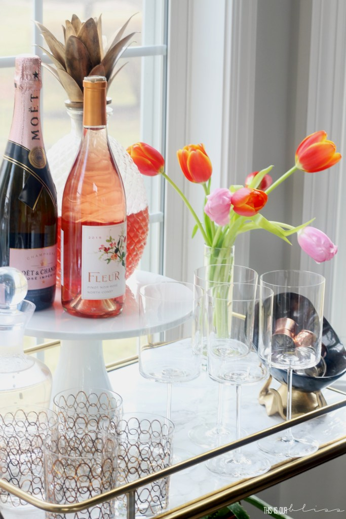 Adding a few Spring Touches to the Bar Cart   Spring Bar Cart Styling in the Dining Room   Rose and Champs!!   This is our Bliss