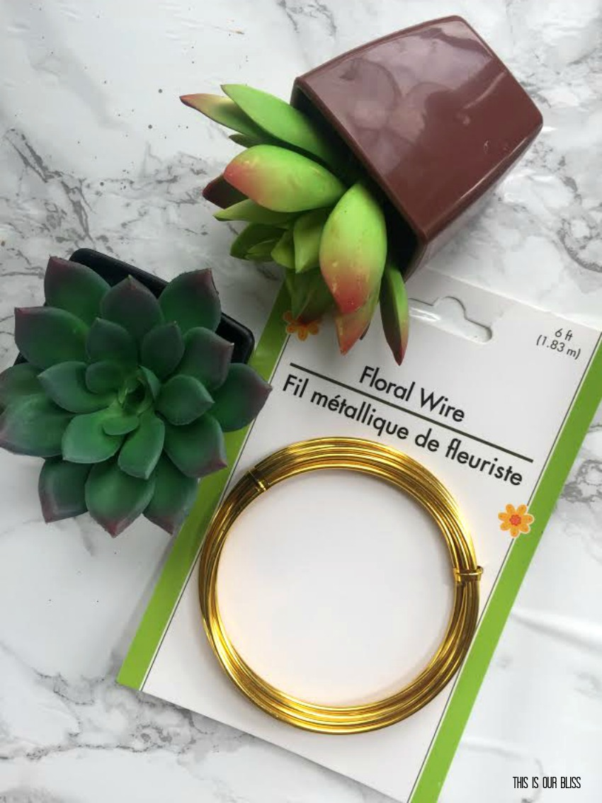 DIY Faux Succulent-filled Wire Orb | My Dollar Store DIY | This is our Bliss