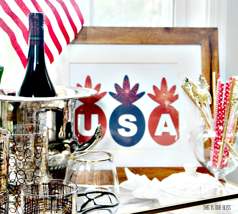 Free Patriotic Pineapple Printable | 4th of July Entertaining | 4 Days of Festive & Frugal 4th of July Ideas | www.thisisourbliss.com