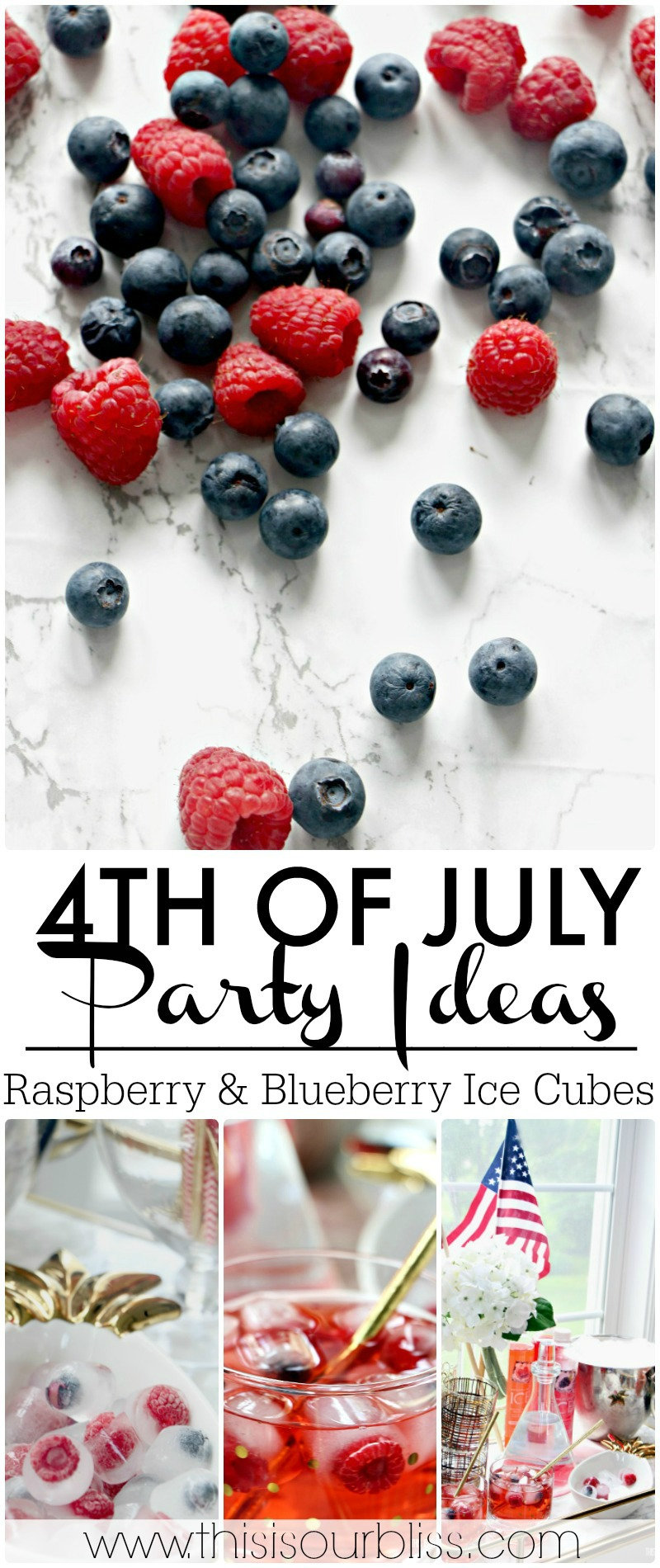 Festive 4th of July Ideas | Blueberry & Raspberry Ice Cubes Perfect for Any cocktail or Mocktail at your Holiday BBQ! | This is our Bliss