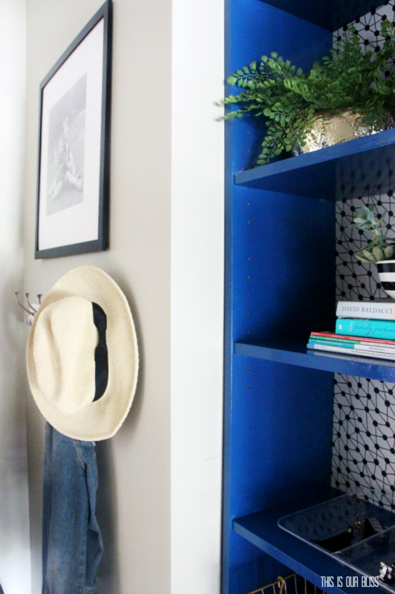 IKEA Hack! DIY Billy Bookcase Makeover with Paint & Removable wallpaper! | This is our Bliss