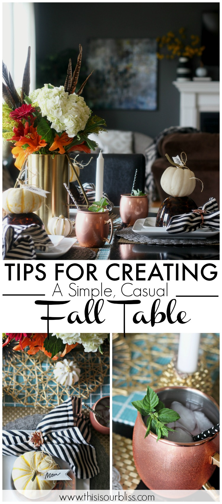 Easy ways to add a Fall Touch to your Table | How to Create a Simple, Casual Fall Tablescape