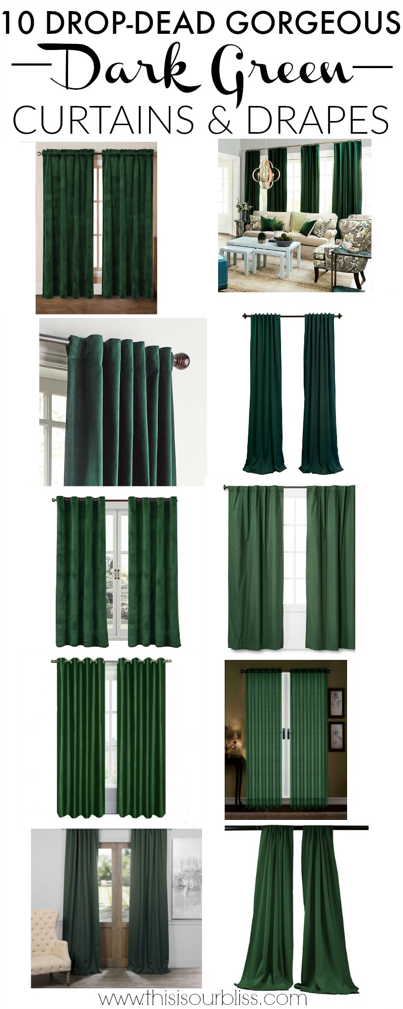 Top Ten Drop-dead Gorgeous Dark Green Drapes and Curtains - This is our Bliss