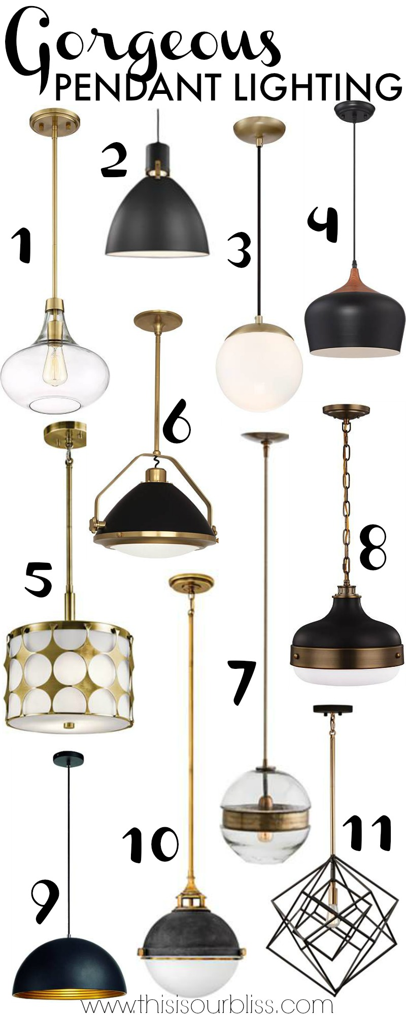 11 Gorgeous Pendant Lighting Options for your Kitchen Island | New Year, New Room Refresh Challenge Week 4 | This is our Bliss