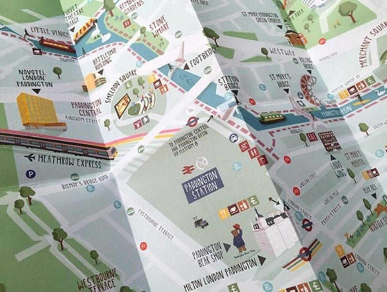 Illustrated Paddington London map   Paddington Illustrated Paddington London map