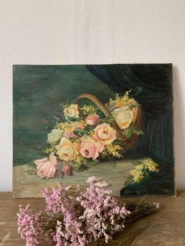 Ancienne peinture à l'huile représentant un bouquet de fleurs.