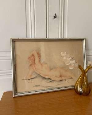Ancien dessin de nu artistique époque art déco.