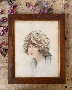 portrait ancien à l'aquarelle femme années 20/30