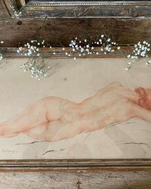 ancien pastel nu époque art déco
