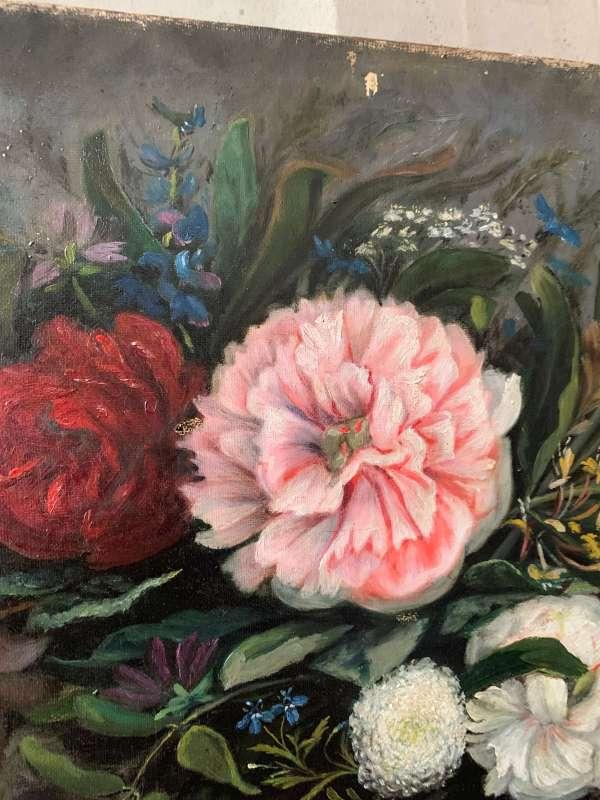ancienne peinture fleurs 19eme