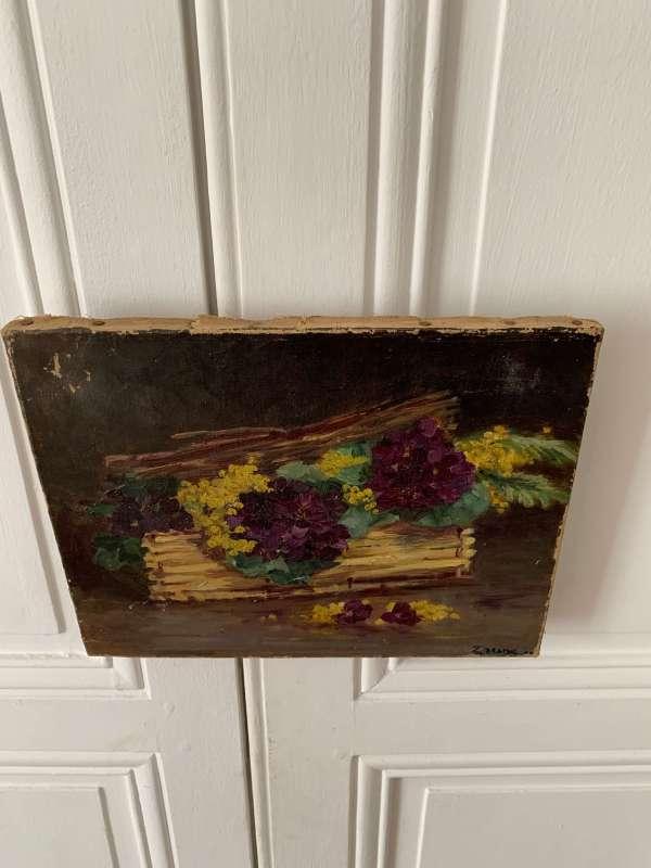 peinture ancienne fleurs huile sur toile