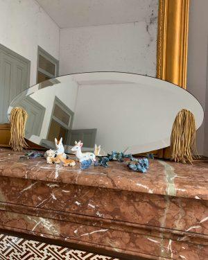 ancien miroir art déco biseauté et pompons