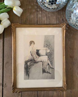 ancienne gravure art déco femme signée estampe