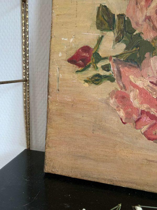 peinture ancienne à l'huile fleurs