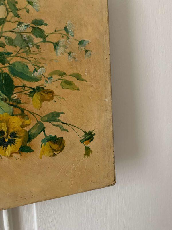 ancienne peinture à l'huile fleurs pensées