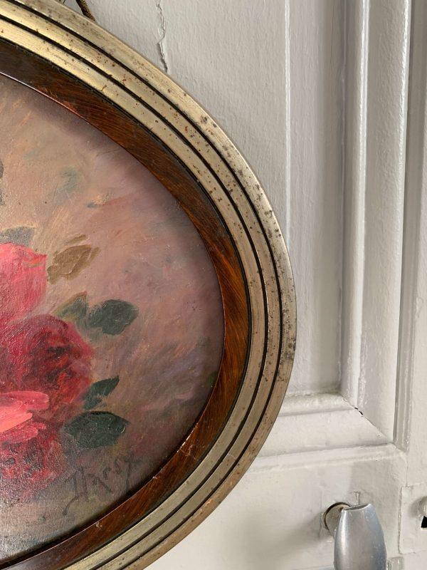 ancienne peinture à l'huile fleurs .