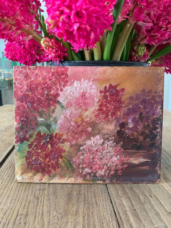 ancienne peinture à l'huile hortensias