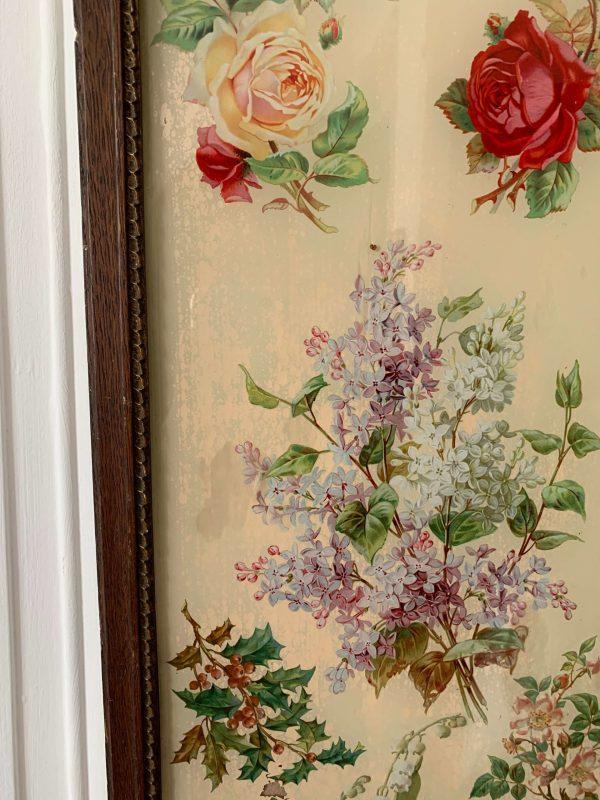 magnifique fixé sous verre ancien fleurs 19eme