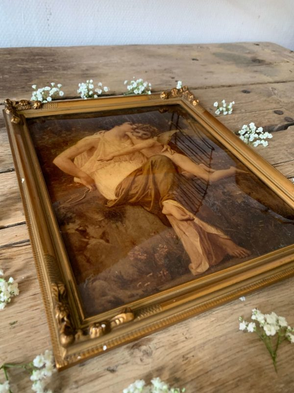 ancien fixé sous verre 19ème ange gardien