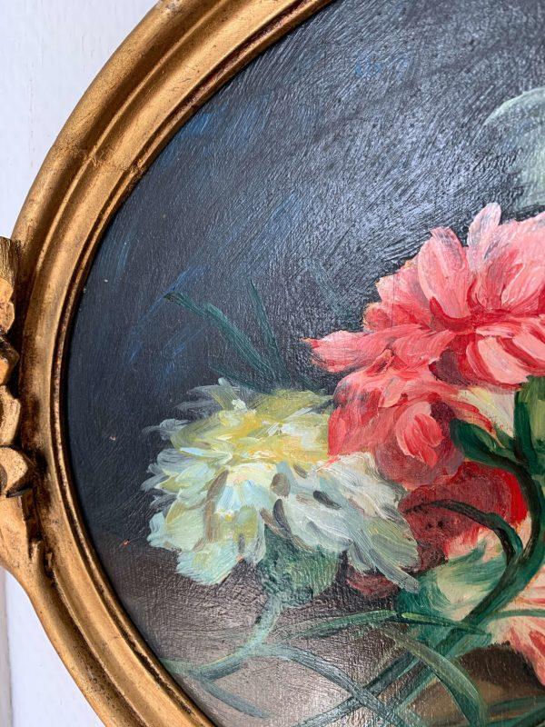ancienne peinture à l'huile oeillets paul Morenga