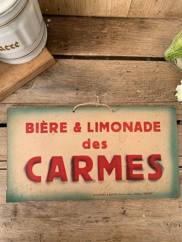 ancienne pub sur carton carmes limonade
