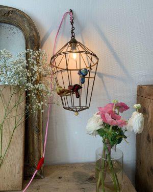 ancienne lampe cage à oiseaux vintage