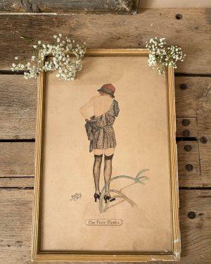 ancien dessin art déco de femme