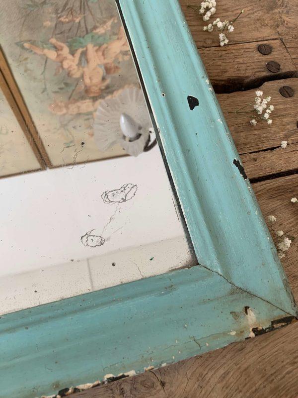 ancien miroir en bois peint bleu