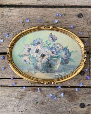 ancienne peinture fleurs aquarelle
