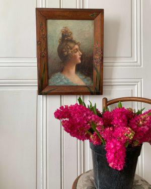 ancienne peinture sur toile femme art déco cadre peint