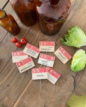 anciennes étiquettes prix en francs de boucherie