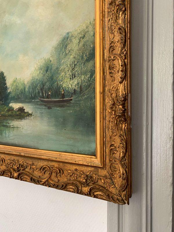 ancienne peinture à l'huile dans son cadre en bois et stuc doré