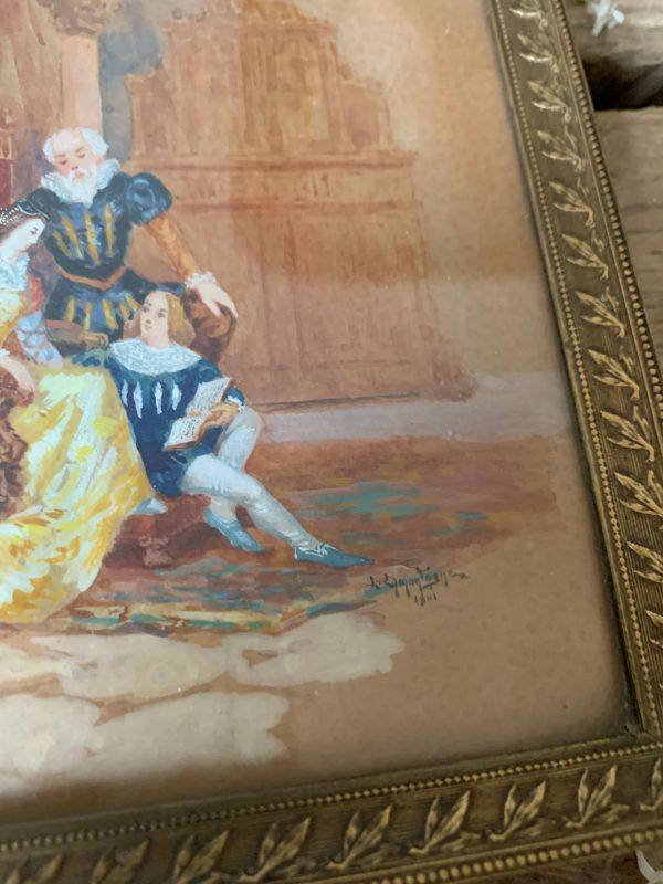 ancienne miniature sur papier aquarelle du 19eme