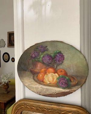 peinture à l'huile ancienne nature morte sur châssis ovale vers 1900