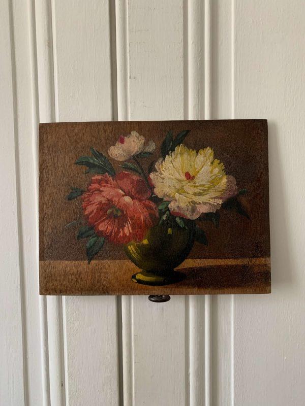 ancienne peinture sur bois pivoines fleurs