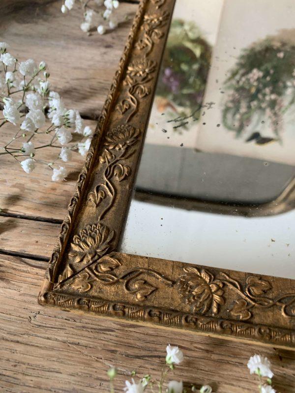 ancien petit miroir au mercure doré