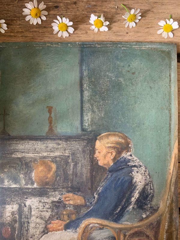 ancienne peinture femme moulin à café